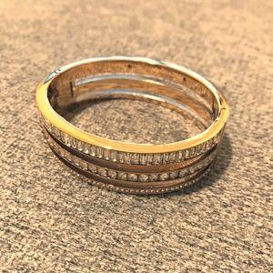 Gold Crystal Bangle Bracelet